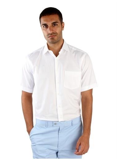 Dufy Mavı Kısa Kol Büyük Beden Armür Erkek Gömlek - Battal Beyaz